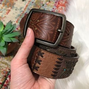 Fossil • Genuine Leather Boho Beaded Belt